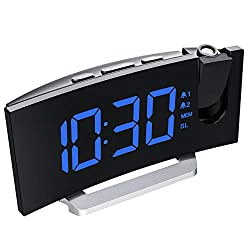PICTEK Projection Alarm Clock, 5'' LED Curved-Screen Digital Alarm Clock, 15 FM Radio, Dual Alarm with 4 Alarm Sounds, 6 Dimmer, 12/24 Hour, USB Phone Charger, Projection Clock on Ceiling Bedroom