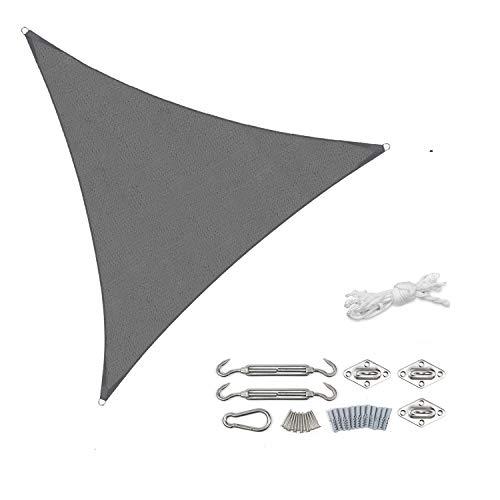 Sekey Sonnensegel Sonnenschutz Dreieckiges HDPE Durchlässig Atmungsaktiv Tear Resistant Wetterschutz UV-Schutz, für Outdoor Garten Terrasse, mit Seilen und Befestigungs Kit Anthrazit 3.6×3.6×3.6m