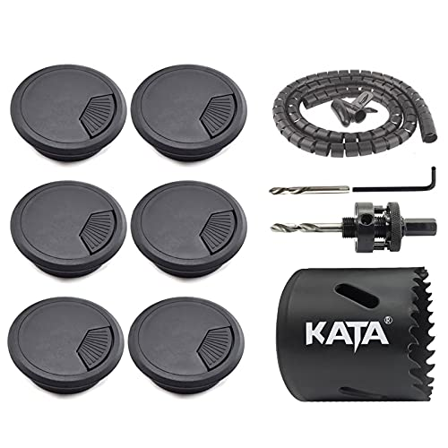 KATA 6-Pack 2Inch (50mm) Desk Grommet Wire Cord Cable Hole Cover with M42 2