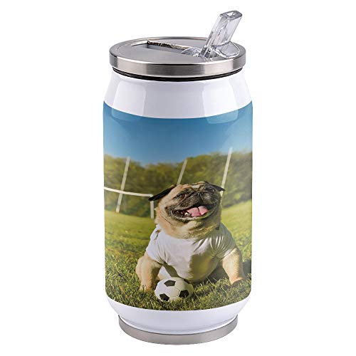 French Bulldog Travel Mug, Stainless Steel Tumbler with Straw, Sliding Lid Mugs for Hot and Iced Water, Coffee, Tea and Beverages 400ml, Animal Pet Puppy In Football Field