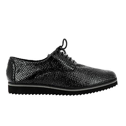 ELIZABETH STUART - Chaussure Ville Femme - Chaussure Derby Femmes, Une référence à la Fois Sportive et sophistiquée - Chaussure Cuir de qualité française - Noir - 41 EU