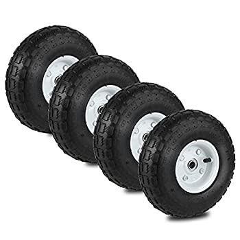 Auttely 10  Wheelbarrow Tires Set of 4 Replacement Wagon 4.10/3.50-4  Wheels All Purpose Utility Garden Wagon Flat Free Tires with 5/8  Double Sealed Bearings for Hand Trucks and Gorilla Cart
