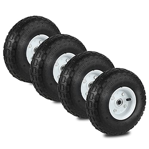 Auttely 10' Wheelbarrow Tires Set of 4 Replacement Wagon 4.10/3.50-4' Wheels All Purpose Utility...