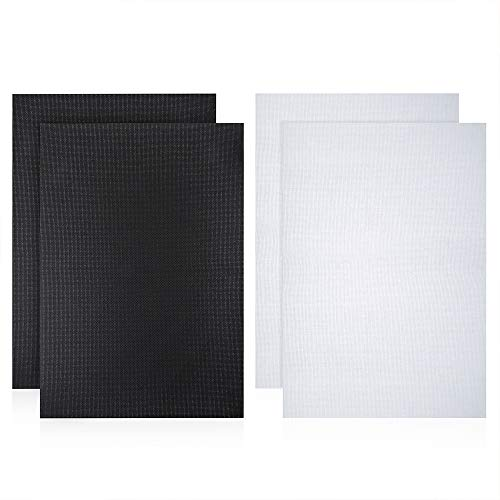 Caydo 4 Pieces Cross Stitch Cloth 14 Count Classic Reserve Aida Cloth, 18 by 12-Inch, White and Black