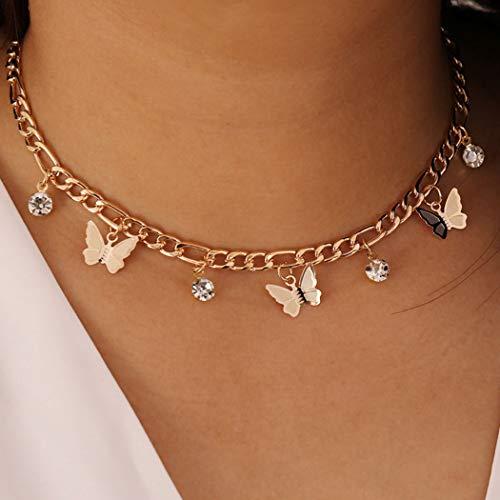 Simsly Halskette mit Quaste, Schmetterling-Halskette, Goldfarben, verstellbar, für Damen und Mädchen