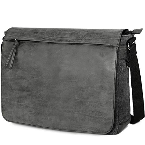 SAVE TODAY. Limited time offer!! Pick it up now! ❤ High quality and Water Resistant: Made of PU leather and water repellent waxed canvas fabric, strong buckles, smooth zipper, reinforced stitching, make this messenger bag build to last. You will get ...