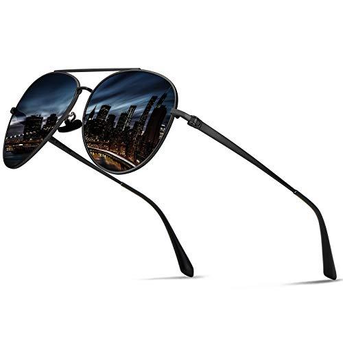 Guztag Classic Aviator Polarized Sunglasses For Men UV400 Protection Lens Stainless Steel G8259 (black & dark gray)