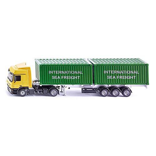 SIKU 3921 - Camion avec Conteneurs, Avec longueur de la remorque variable, Echelle: 1:50, Jaune/Vert, Métal/Plastique, 2 Conteneurs inclus