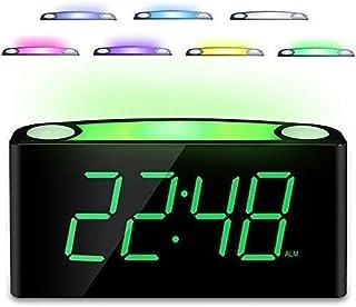 "Desk Alarm Clock with 12/24 H, 7-Color Night Light, 7"" Digital LED Display with Large Digits, Full Brightness Dimmer, 2 USB Charging Port, AC Powered & Battery Backup Settingsfor Bedroom, Kids"
