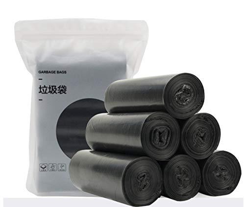LOISLEILA Bolsas de basura gruesas 150 unidades (5 rollos) 45 x 50 cm, 10 l, para cocina, oficina, dormitorio, baño (negro)