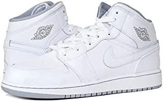 [ナイキ] AIR JORDAN 1 MID GS WHITE/WOLF GREY (554725-112) [並行輸入品]