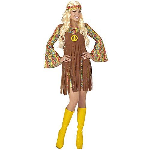 Widmann 06520 Erwachsenenkostüm Hippie Girl, Kleid mit Weste, Stirnband, Kette mit Peace-Zeichen, XXL