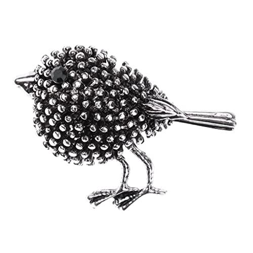 P Prettyia Mini Blume Brosche Strass Dekoration Schal Clips Pin für Damen Frauen Hochzeit Party in vielen Motiven - Alte Silberne Vogel-Diamant-Brosche