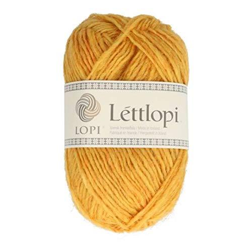 theofeel Lettlopi Wolle 1703 gelb, Islandwolle zum Stricken von Islandpullovern, Norwegermuster
