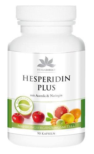 Hesperidin Plus mit Acerola und Naringin - Grapefruit-Kern Extrakt 500mg - 45% Flavonoide - vegan - hochdosiert - 90 Kapseln - Hergestellt in Deutschland