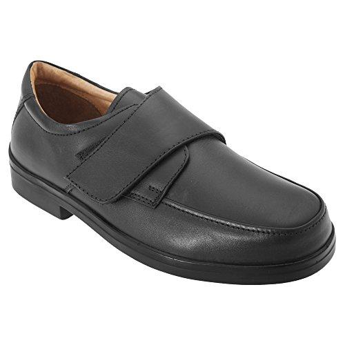Roamers - Zapatos Casual para pies Extra amplios Modelo Wide Fitting Diseño con con Cierre Adhesivo Hombre Caballero - Vestir/Trabajo (42 EU/Negro)