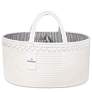 crib bedding and baby bedding conthfut baby diaper caddy organizer 100% cotton canvas stylish rope nursery storage bin portable tote bag & car organizer for changing table - top baby shower basket