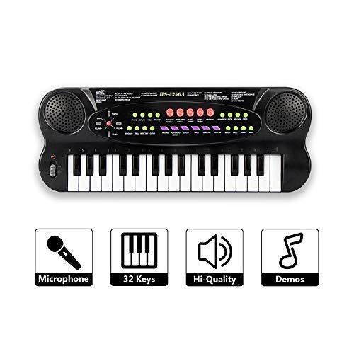 SAOCOOL Kids Piano, 32 Keys Multifunction Electronic Kids Piano Keyboard Teaching Keyboard for Children Birthday Gift (Black)