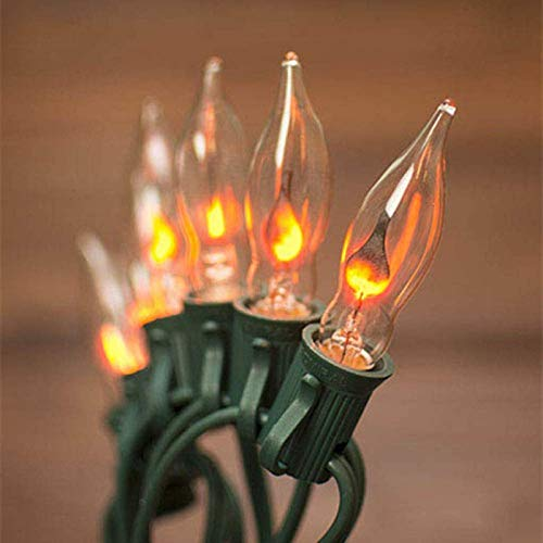 SkrLights 10FT String Lights, Flickering Flame C7 Christmas String Lights for Halloween Christmas Outdoor Decoration- Green Wire