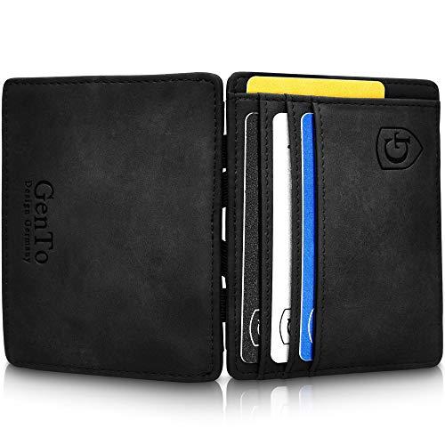 GenTo® Nevada - Geldbörse Herren - TÜV geprüft - Magic Wallet - Magischer Geldbeutel mit großem Münzfach - Inklusive Geschenkbox - Smart Wallet - Portemonnaie Männer (Schwarz - Soft)