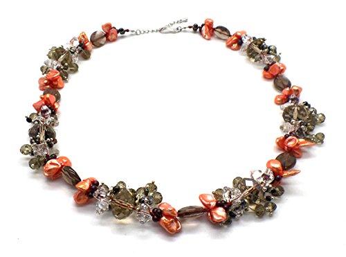 La perla de agua dulce Melocotón, oro y collar pulsera racimo de topacio ahumado