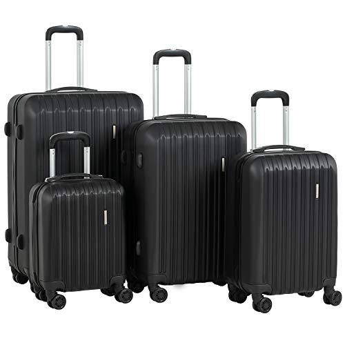 Murtisol Travel 4 Pieces ABS Luggage Sets Hardside Spinner Lightweight Durable Spinner Suitcase 16' 20' 24' 28',4PCS Black