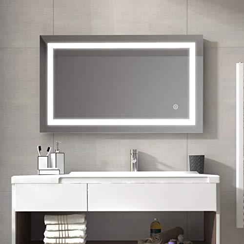 Duschdeluxe Badspiegel Lichtspiegel 100 x 60 cm LED Spiegel Wandspiegel nergieeffizienzklasse A ++ mit Beleuchtung kaltweiß Lichtspiegel mit Touchschalter