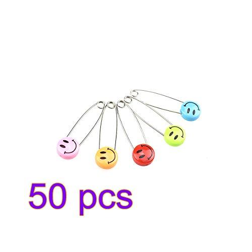 Baby Sicherheitsnadeln Windel Pins, 50PCS farbigen Sicherheitsnadeln Kind Infant Kinder Locking Tuch Windel Pins Bulletproof Öffnung Größe S (mischen Farbe), plastik, Colorful1, S