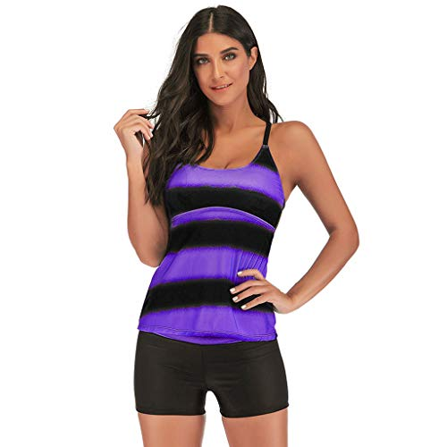 LODDD Women Bandage Three-Point Swimsuit Fashion Plus Size Gradient Tankini Bikini Swimwear Bathing Suit Purple