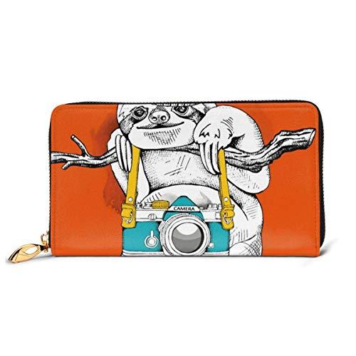 Lawenp Kamera Schwein große Kapazität Reißverschluss um schlanke Brieftasche Echtes Leder Brieftasche Kartenhalter für Männer Frauen Jungen Mädchen