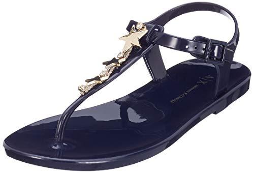 Armani Exchange Damen Star Rubber Sandal Zehentrenner, Blau (Blue Moon 00006), 37 EU