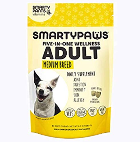 Smartypaws Dog Supplements- Glucosamine & Chondroitin + MSM For Joint Support, Fish Oil Omega 3 (Epa & Dha), Probiotics, Organic Turmeric: Adult Medium Breed - By Smartypants Vitamins - 60 Ct