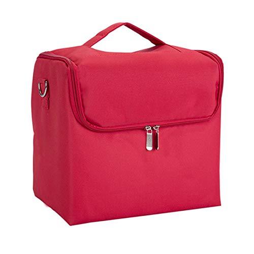 Maquillage Organizer Storage Case Grande capacité épaule Sac à cosmétiques Sac Multi-Couche Valise Boîte à Outils, Rouge, 29 × 21 × 26 cm
