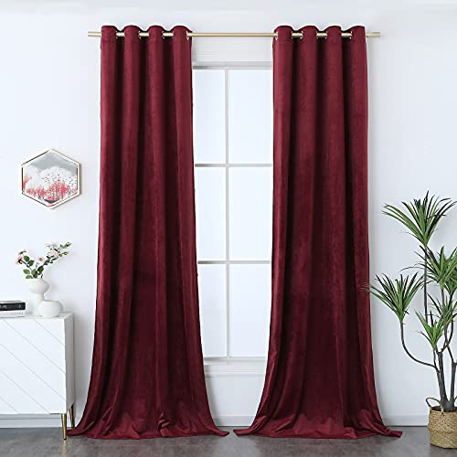 Timeper Luxury Velvet Curtains Burgundy - Home Theater Red Curtains Light Blocking Privacy Protect Grommet Backdrop Curtains for Party Holiday Stage Studio Décor, Burgundy, W52 x L84, 2 Panels