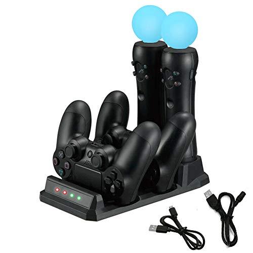 4 en 1 Estación de Carga, Base Rápida Carga 2 Mandos y 2 Moves a la Vez Indicadores LED Muestra Estado de Carga compatible con Playstation PS MOVE / PS4 /PS VR