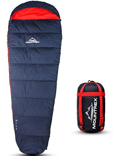 MOUNTREX® Schlafsack - Warm & Leicht (1500g) – 3-4 Jahreszeiten Schlafsack - Outdoor Mumienschlafsack (205x75cm) für Camping, Reise, Erwachsene - Kompaktes Packmaß (36x20cm) - Koppelbar (Rechts)