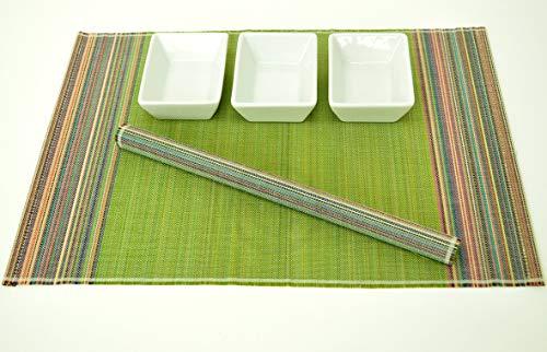 4 faite à la main en bambou Sets de table, sets de table avec fine de qualité, Lot de 4, Citron vert et Multi Couleur Stripes, Pj005