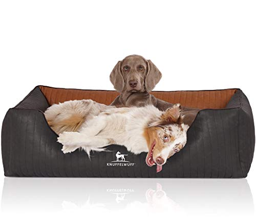 Knuffelwuff Orthopädisches Hundebett aus laser-gestepptem marmoriertem Kunstleder Rough...