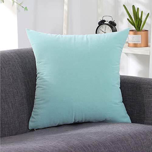 Papasan - Cuscino per sedia in velluto, delicato sulla pelle e morbido, con cerniera nascosta, cuscino decorativo per interni ed esterni, divano salotto, azzurro, piccolo