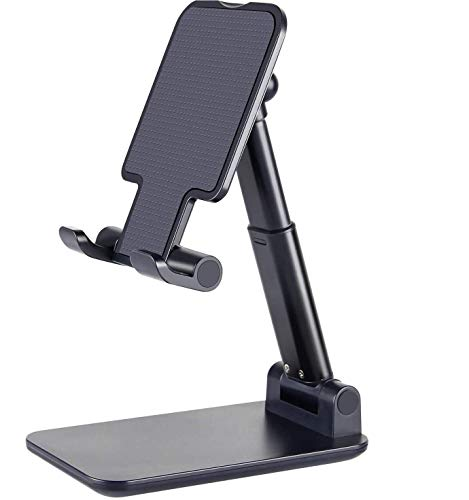 CROGIE Premium Smart Foldable Mobile Stand for Table and Bed, Height Adjustable Universal Phone Holder for All Smartphones & Tablet (Black)