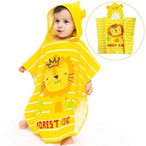 100% katoen kinderhanddoek met capuchon badhanddoek strandlaken badjas jongen meisjes (leeuw, 120 cm × 60 cm)