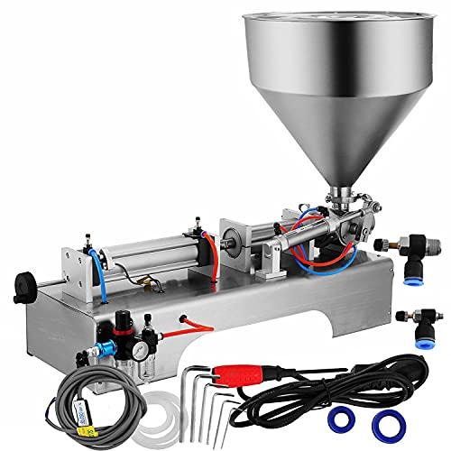 Llenadora de crema de 50-500ML Llenadora de líquidos Máquina de llenado de pasta neumática con pedal de 30L para máquina de llenado de pasta semiautomática con embudo (5 - -500ml 30L de capacidad)