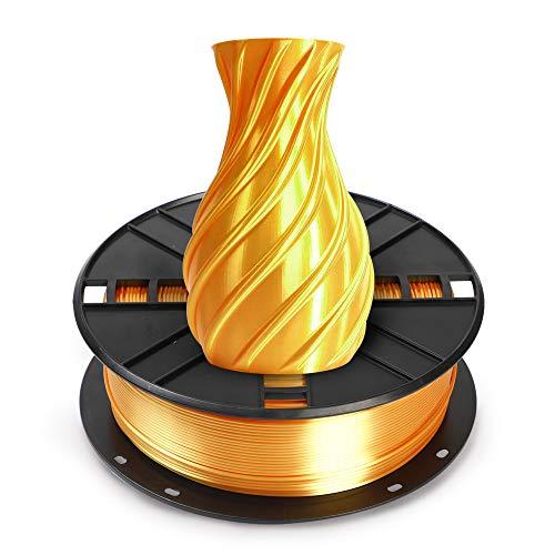 NOVAMAKER Silk Gold PLA Filament 1.75mm, Shiny Metallic Metal Golden PLA 3D Printer Filament with Cleaning Filament, 1kg Spool(2.2lbs), Dimensional Accuracy +/- 0.02mm, Fit Most FDM Printer