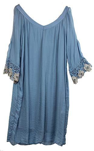 BZNA Ibiza Empire zomerjurk blauw haakdetails zijden jurk bozana zomer herfst zijden jurk dames jurk jurk elegant