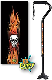 Adjustable Walking Cane Foam Handle Quad Footed Four Pointed Cane Tip Flames with Skulls Design