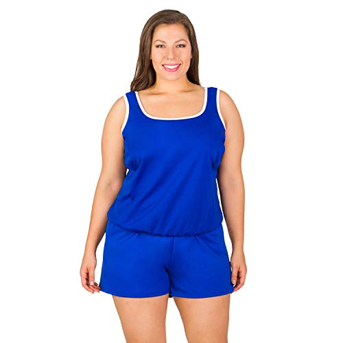 Plus Size Chlorine Resistant Swimsuits - Polyester Two Piece with Shorts Blue Size 28