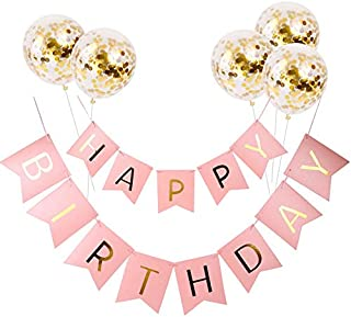 Beauenty Five balloons +Happy Birthday Gilding Happy Birthday Letter Pull a Banner Banner Fish Tail Hang a Flag