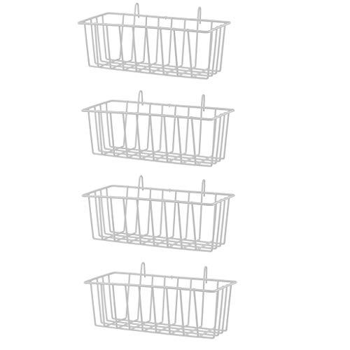 F Fityle 4 Stücke Wandgitter Panel Hängenden Korb Wanddekoration Organizer, Multifunktionale Wand Ablagekorb Für Küche/Bad Organizer (Weiß)