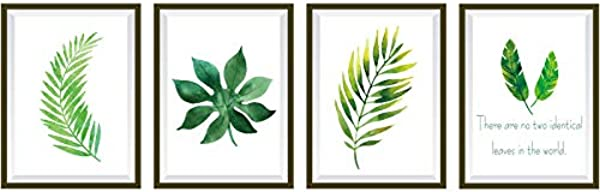 Xuesuhao Leaves Wall Sticker 4 In 1 Green Plants Wall Stickers Decor Decal Art Murals Removable PVC DIY Wall Decoration Paper Poster For Kids Bedroom Kitchen Living Room Nursery Rooms Offices