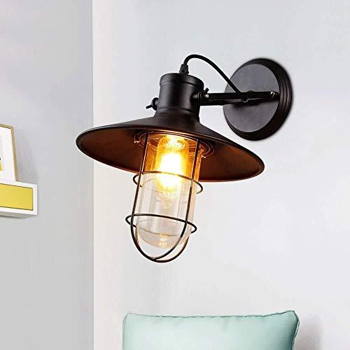HJXSXHZ366 Retro Mini-Wandleuchte Einfaches Metall transparenter Glasschirm Wandlampe Jahrgang Wandlampe kreatives Industrie Loft Restaurant Geschäft Lager Wandlampe schmiedeeisernen Zaun